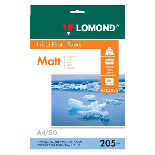 Фотобумага Lomond 0102085 A4/205г/м2/50л./белый матовое для струйной печати фотобумага lomond а4 240г м2 глянцевая 50л 102135