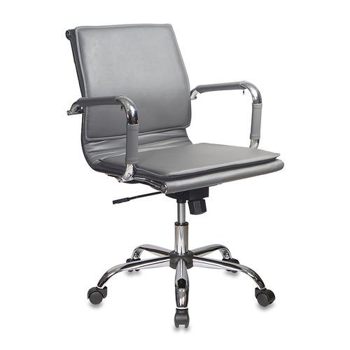 Кресло руководителя БЮРОКРАТ CH-993-Low, на колесиках, искусственная кожа, серый [ch-993-low/grey] кресло бюрократ ch 1399 на колесиках искусственная кожа серый [ch 1399 grey]