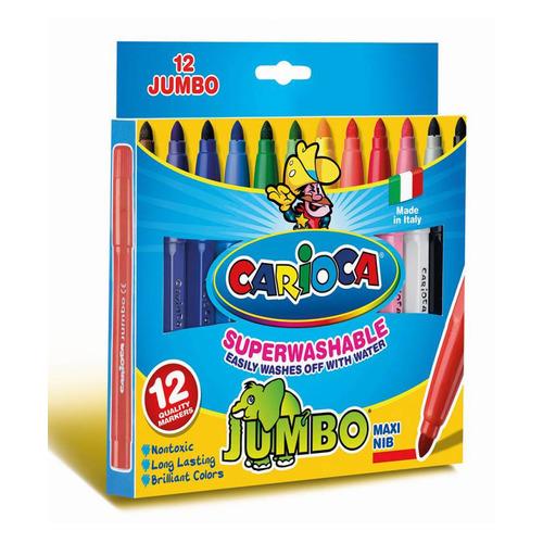 Фломастеры Carioca Jumbo 40569 12цв. коробка с европодвесом 12 шт./кор. фломастеры carioca bi color 42269 12цв двусторонние 6шт 24 шт кор