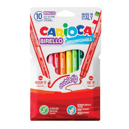 Фломастеры Carioca BIRELLO 41438 двухсторонний 10цв. коробка с европодвесом 24 шт./кор. фломастеры carioca bi color 42269 12цв двусторонние 6шт 24 шт кор