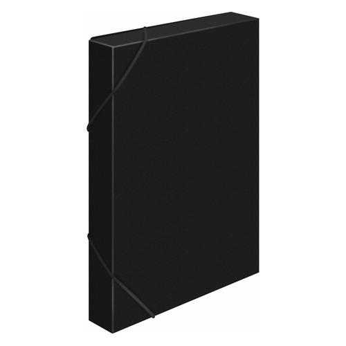Папка-короб на резинке Бюрократ -BA25/05BLCK пластик 0.5мм корешок 25мм A4 черный 30 шт./кор. папка короб бюрократ ba25 05grn цвет зеленый на резинке 816202