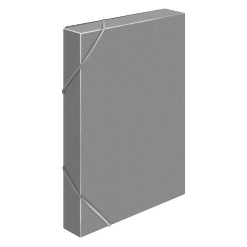 Папка-короб на резинке Бюрократ -BA25/05GREY пластик 0.5мм корешок 25мм A4 серый 30 шт./кор. папка короб бюрократ ba25 05grn цвет зеленый на резинке 816202