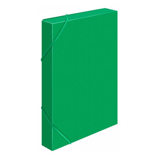 Папка-короб на резинке Бюрократ -BA25/05GRN пластик 0.5мм корешок 25мм A4 зеленый 30 шт./кор. короб архивный вырубная застежка бюрократ ba80 08blck пластик 0 8мм корешок 80мм 330х245мм черный