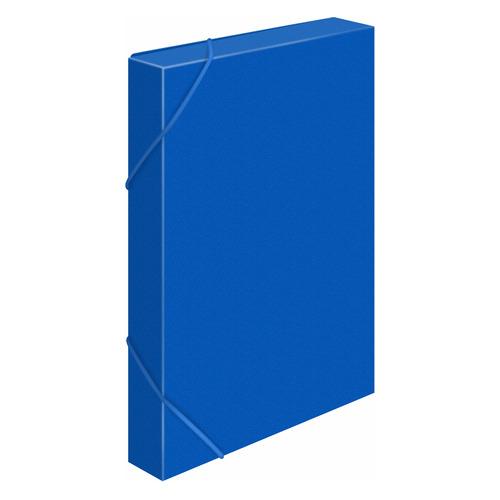 Папка-короб на резинке Бюрократ -BA40/07BLUE пластик 0.7мм корешок 40мм A4 синий 25 шт./кор. папка короб бюрократ ba25 05grn цвет зеленый на резинке 816202