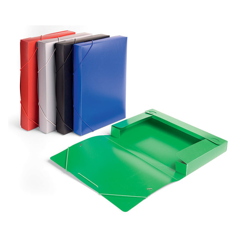 Папка-короб на резинке Бюрократ -BA40/07GREY пластик 0.7мм корешок 40мм A4 серый 25 шт./кор. папка короб бюрократ ba25 05grn цвет зеленый на резинке 816202