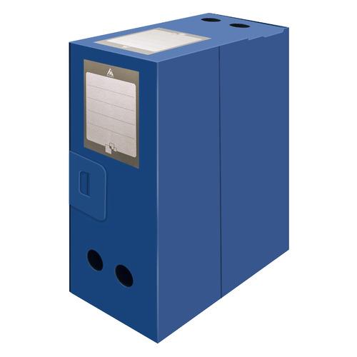 цена на Короб архивный вырубная застежка Бюрократ -BA80/08BLUE пластик 0.8мм корешок 80мм 330х245мм синий 30 шт./кор.