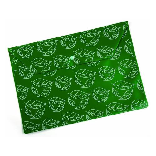 Конверт на кнопке Бюрократ -PK813NGRN A4 с рисунком Листочки непрозрачный пластик 0.18мм зеленый 10 шт./кор.