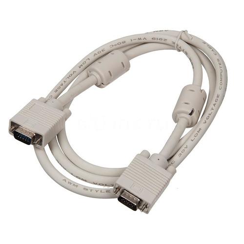 Фото - Кабель VGA BURO CAB016S-06, VGA (m) - VGA (m), ферритовый фильтр , 1.8м, серый кабель ningbo cab016s 06f vga m vga m 1 8м феррит кольца