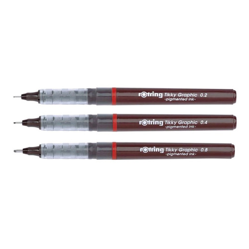 Набор ручек капиллярных Rotring TIKKY GRAPHIC (1904811) :3 ручки: 0.2/0.4/0.8мм черные чернила