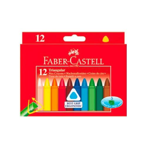 цена на Восковые мелки Faber-Castell 120010 трехгранные 12цв. картон.кор. 10 шт./кор.