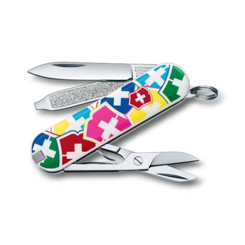 Складной нож VICTORINOX Classic, 7 функций, 58мм, белый / рисунок цена 2017