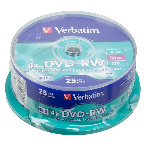 Фото - Оптический диск DVD-RW VERBATIM 4.7ГБ 4x, 25шт., cake box [43639] dvd blu ray