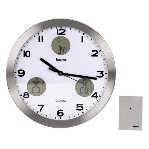 Настенные часы HAMA AG-300 H-113982, аналоговые, серебристый будильник с термометром и гигрометром вега 6714
