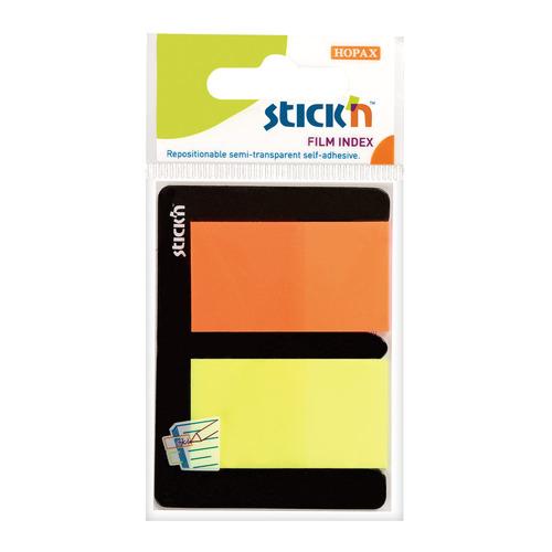Закладки самокл. индексы пластиковые Stick`n 21039 25x45мм 2цв.в упак. 25лист европодвес 24 шт./кор. цена и фото