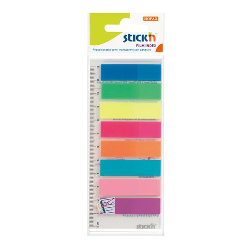 Закладки самокл. индексы пластиковые Stick`n 21345 12x45мм 8цв.в упак. 25лист на линейке европодвес 24 шт./кор. цена и фото