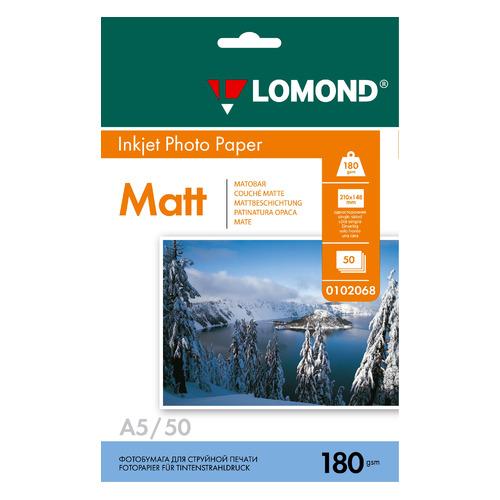 Фотобумага Lomond 0102068 A5/180г/м2/50л./белый матовое для струйной печати фотобумага lomond а4 240г м2 глянцевая 50л 102135