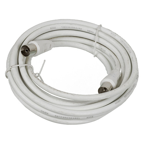 Фото - Кабель антенный HAMA H-11905, Coax (m) - Coax (f) , 3м, белый [00011905] кабель антенный hama h 11900 coax m coax f 1 5м белый [00011900]