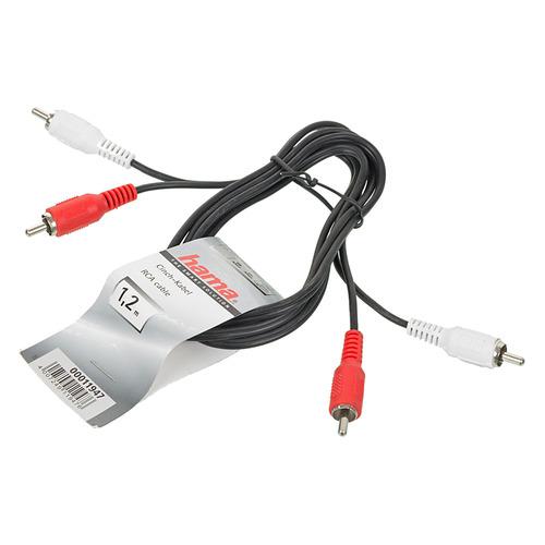 лучшая цена Кабель аудио HAMA H-11947, 2хRCA (m) - 2хRCA (m) , 1.2м, черный [00011947]