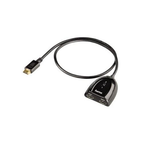 Переключатель аудио-видео HAMA H-42553, HDMI (m) - 2хHDMI (f) , GOLD черный [00042553]