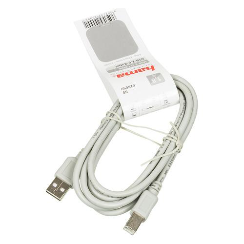 Кабель USB2.0 HAMA H-29099, USB A(m) - USB B(m), 1.8м, серый [00029099] цена