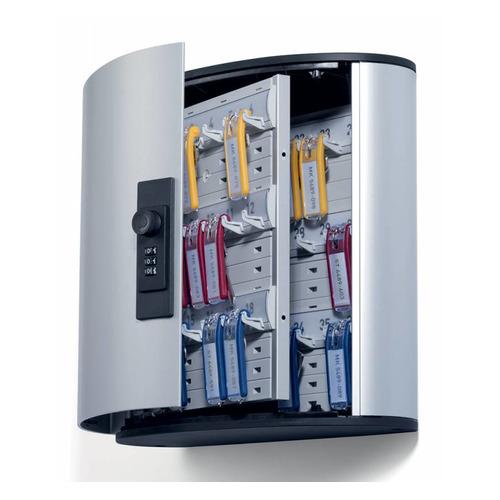 Шкафчик для ключей Durable 1966-23 на 36ключ. кодовый замок 302x208x118мм комппл.6 брелков серебрист