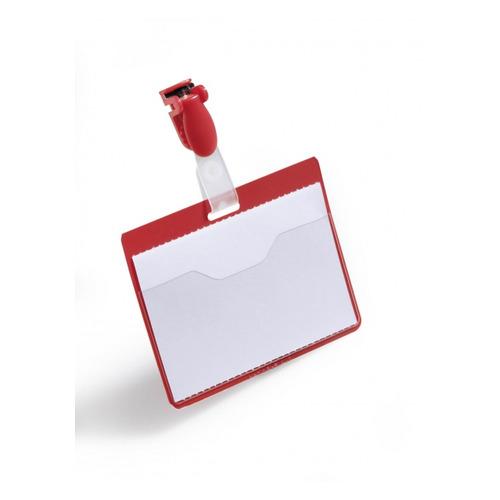 Бейдж Durable 8106-03 60х90мм горизонт. зажим+клип красный (упак.:25шт) цена 2017
