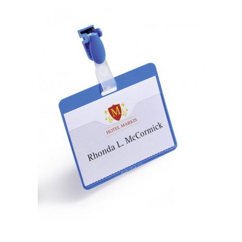 Бейдж Durable 8106-06 60х90мм горизонт. зажим+клип синий (упак.:25шт) цена 2017