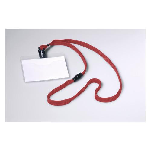 Бейдж Durable 8139-03 60х90мм горизонт. шнур:красный текстильный ПВХ (упак.:10шт) цена 2017