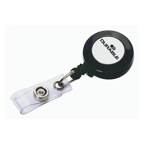 Рулетка для бейджа Durable 8152-58 80см серый (упак.:10шт) рулетка для бейджа durable 8325 23 80см зажим квадратный металл хром упак 10шт