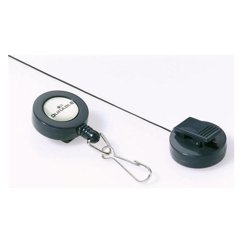 Рулетка для бейджа Durable 8221-58 80см карабин серый (упак.:10шт) рулетка для бейджа durable 8325 23 80см зажим квадратный металл хром упак 10шт