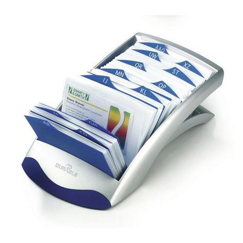 Визитница DURABLE Visifix Desk 2413-23 настольная, перекидная, для 200 визиток, серебристый