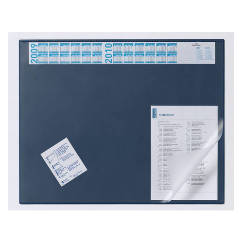 Упаковка настольных покрытий DURABLE 7204-07, 65х52 см, синий, нескользящая основа, прозрачный верхний слой 5 шт./кор.
