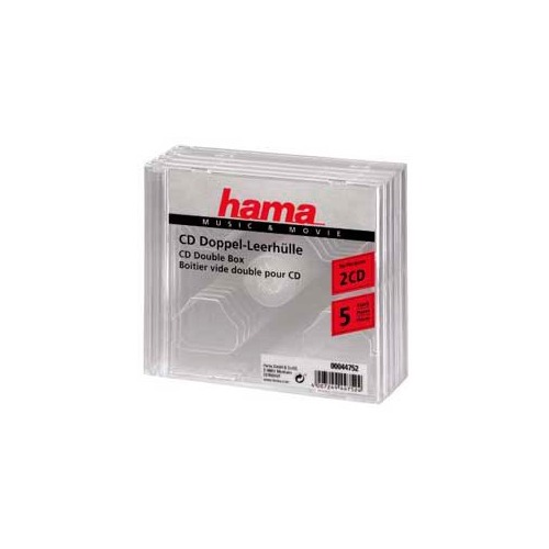 Фото - Коробка HAMA H-44752, 5шт., прозрачный, для 2 дисков [00044752] портмоне hama h 33832 черный для 80 дисков [00033832]