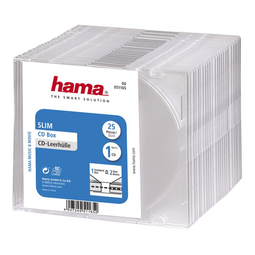 Коробка HAMA H-51165 Slim Box, 25шт., прозрачный [00051165]