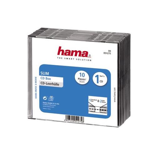 Фото - Коробка HAMA H-51275, 10шт., прозрачный+черный [00051275] коробка hama h 83894 jewel case 5шт прозрачный для 2 дисков [00083894]