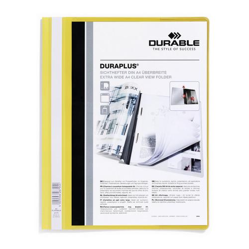 Папка-скоросшиватель Durable Duraplus 2579-04 A4+ прозрач.верх.лист карман пластик желтый 25 шт./кор.