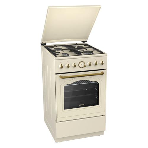 Газовая плита GORENJE GI52CLI, газовая духовка, металлическая крышка, бежевый газовая плита gorenje gi5121wh газовая духовка белый