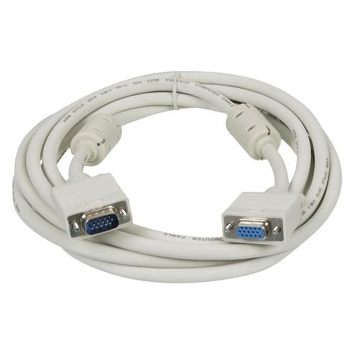 Фото - Кабель-удлинитель SVGA NINGBO VGA (m) - VGA (f), ферритовый фильтр , 3м, серый кабель svga ningbo cab016s vga m vga m ферритовый фильтр 30м