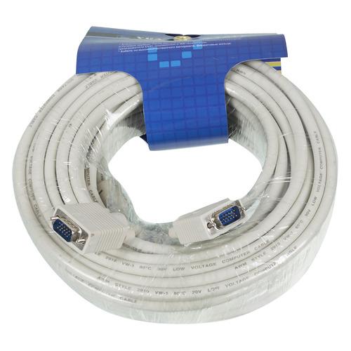 Фото - Кабель SVGA NINGBO CAB016S-20m, VGA (m) - VGA (m), ферритовый фильтр , 20м, серый кабель ningbo cab016s 06f vga m vga m 1 8м феррит кольца