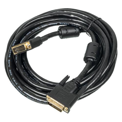 Фото - Кабель DVI NINGBO DVI-D Dual Link (m) - DVI-D Dual Link (m), ферритовый фильтр , круглое, 5м, черный кабель для антенны d link ant24 odu1m кабель для антенны длиной 1м с разъемами rp n и n типа