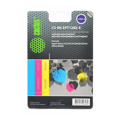 Заправочный комплект CACTUS CS-RK-EPT1282-4, для Epson, 30мл, многоцветный