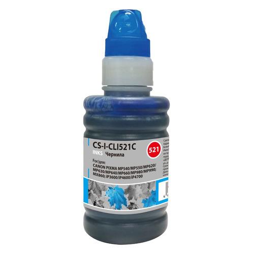 Чернила CACTUS CS-I-CLI521С, для Canon, 100мл, голубой [cs-i-cli521c] чернила cactus cs i cl41c для canon 100мл голубой