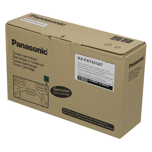 Картридж PANASONIC KX-FAT431A7, черный фотобарабан drum panasonic kx fad422a7 для kx mb2230 2270 2510 2540