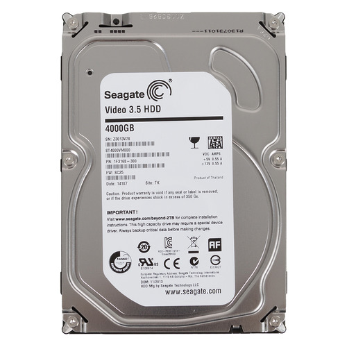 "Жесткий диск SEAGATE Video ST4000VM000, 4Тб, HDD, SATA III, 3.5"" жесткий диск seagate barracuda st4000dm004 4тб hdd sata iii 3 5"