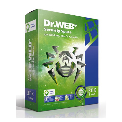 ПО DR.Web Security Space Pro 3 ПК 1 год Base Box (AHW-B-12M-3-A2) по dr web security space трешка 3 пк 12 месяцев ahw b 12m 3 a3