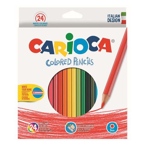 Фото - Упаковка карандашей цветных CARIOCA HEXAGONAL 40381, шестигранные, 24 цв., коробка европодвес 6 шт./кор. краски акварельные carioca 42401 24цв 30мм кисть пл кор 6 шт кор