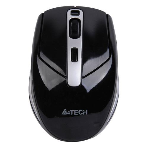 Мышь A4 G11-590FX-1, оптическая, беспроводная, USB, черный и серебристый мышь a4 bloody p91 pro черный 16000dpi usb2 0 8but