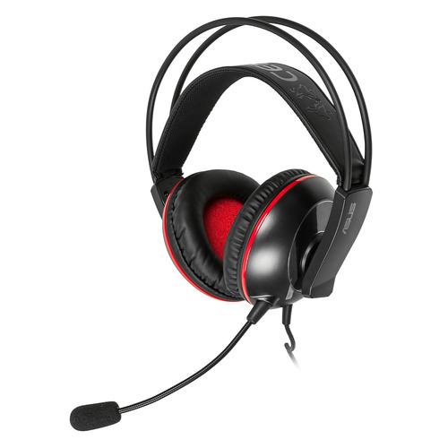 Гарнитура игровая ASUS Cerberus, для компьютера, мониторные, черный / красный [90yh0061-b1ua00] цена 2017