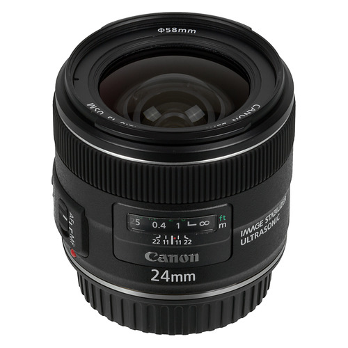 Объектив CANON 24mm f/2.8 EF IS USM, Canon EF, черный [5345b005] цена
