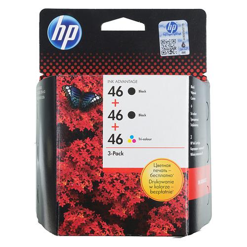 Картридж HP 46, многоцветный / черный [f6t40ae] картридж струйный hp 91 c9465a pigment 775 мл photo black для dj z6100